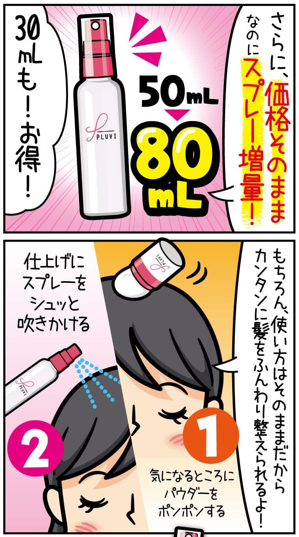 さらに、価格そのままなのに、スプレーが50ミリリットルから80ミリリットルに増量!30ミリリットルもお得。もちろん、使い方はそのままだから、簡単に髪をふんわり整えられるよ