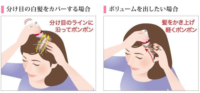 分け目の白髪をカバーする場合は、分け目のラインに沿って軽くたたくようにパフを当ててください。ボリュームを出したい場合は、寝ている毛を立たせるようにパフで軽くたたきます。